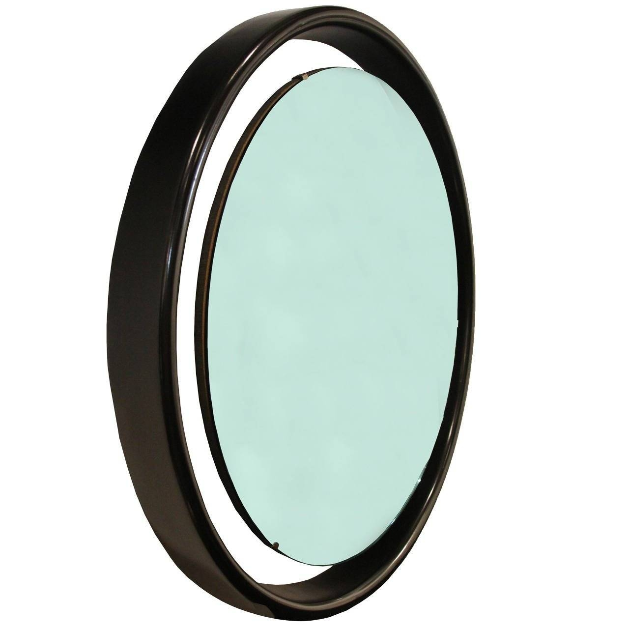 Floating Round Mirror With Black Frame For Sale At 1Stdibs inside Round Black Mirrors (Image 9 of 25)