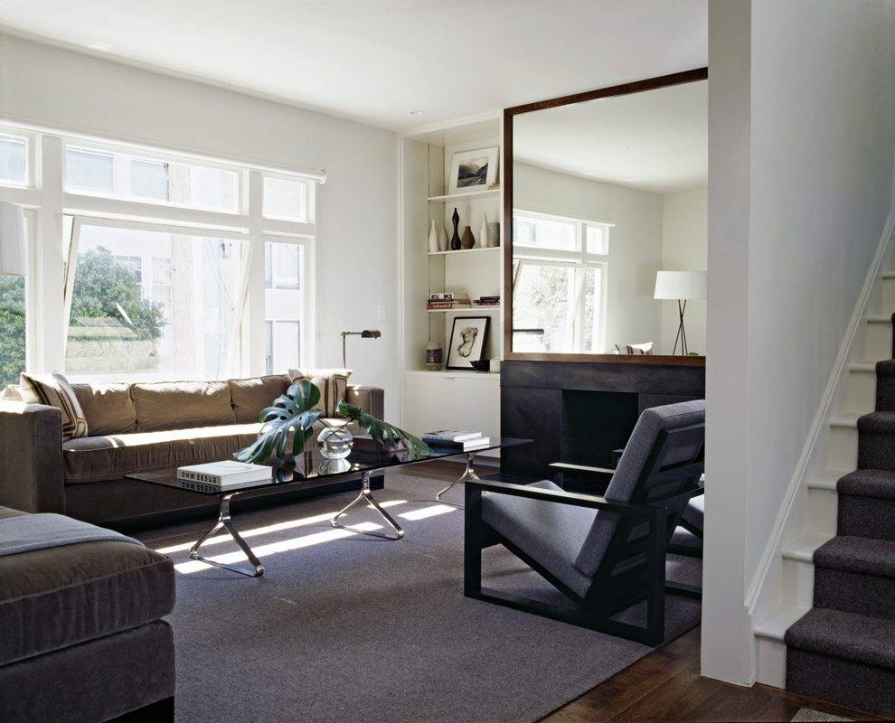 Floor Mirrors Large Living Room Transitional With Dark Floor pertaining to Chrome Floor Mirrors (Image 11 of 25)