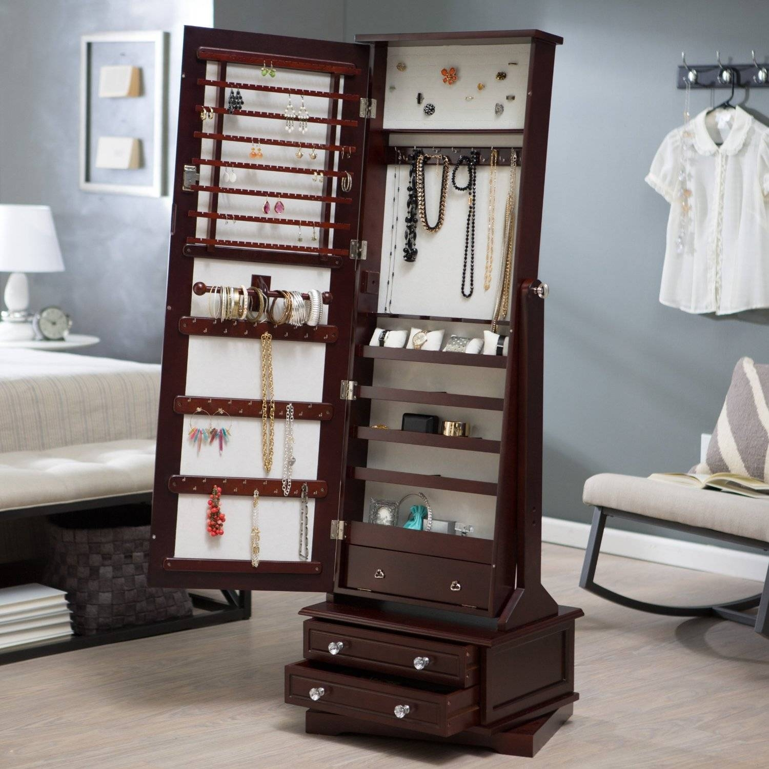 Floor Standing Mirror With Jewelry Storage | Storage Decoration within Full Length Free Standing Mirrors With Drawer (Image 10 of 25)