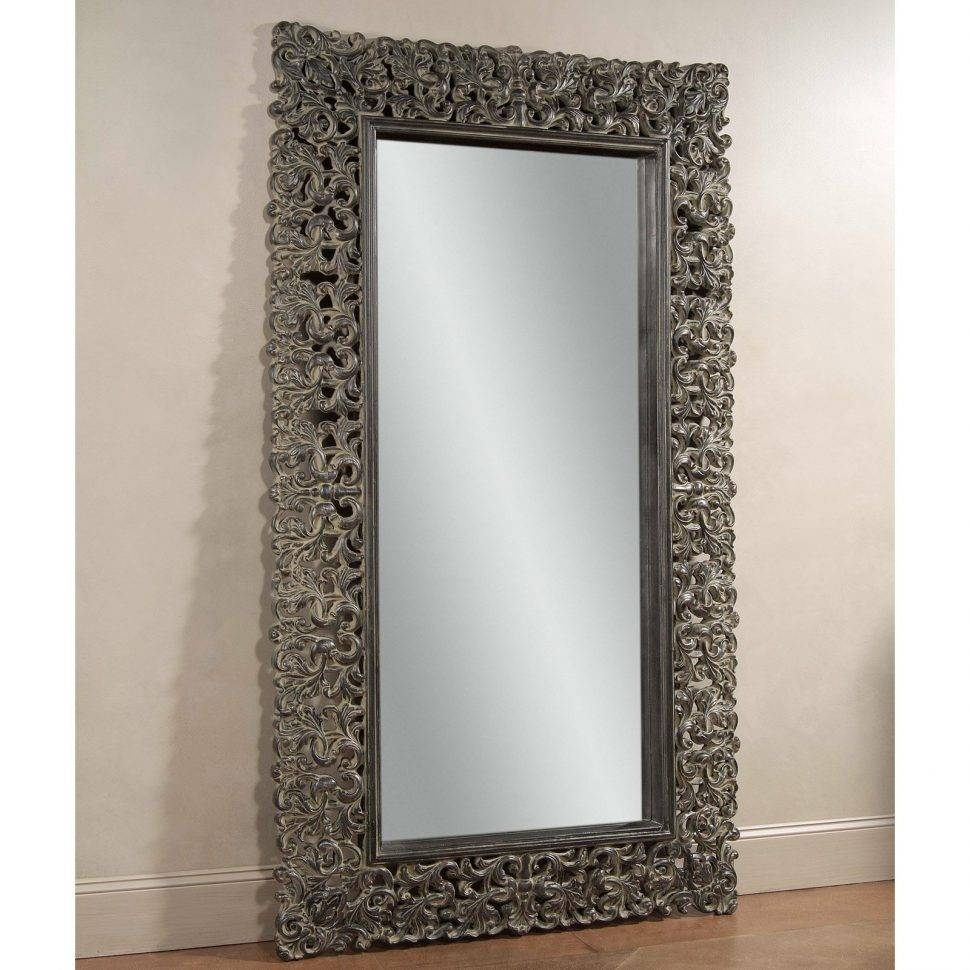 Flooring : Large Floor Mirror Champagne Black Leaning 50W X 86H In in Champagne Mirrors (Image 14 of 25)