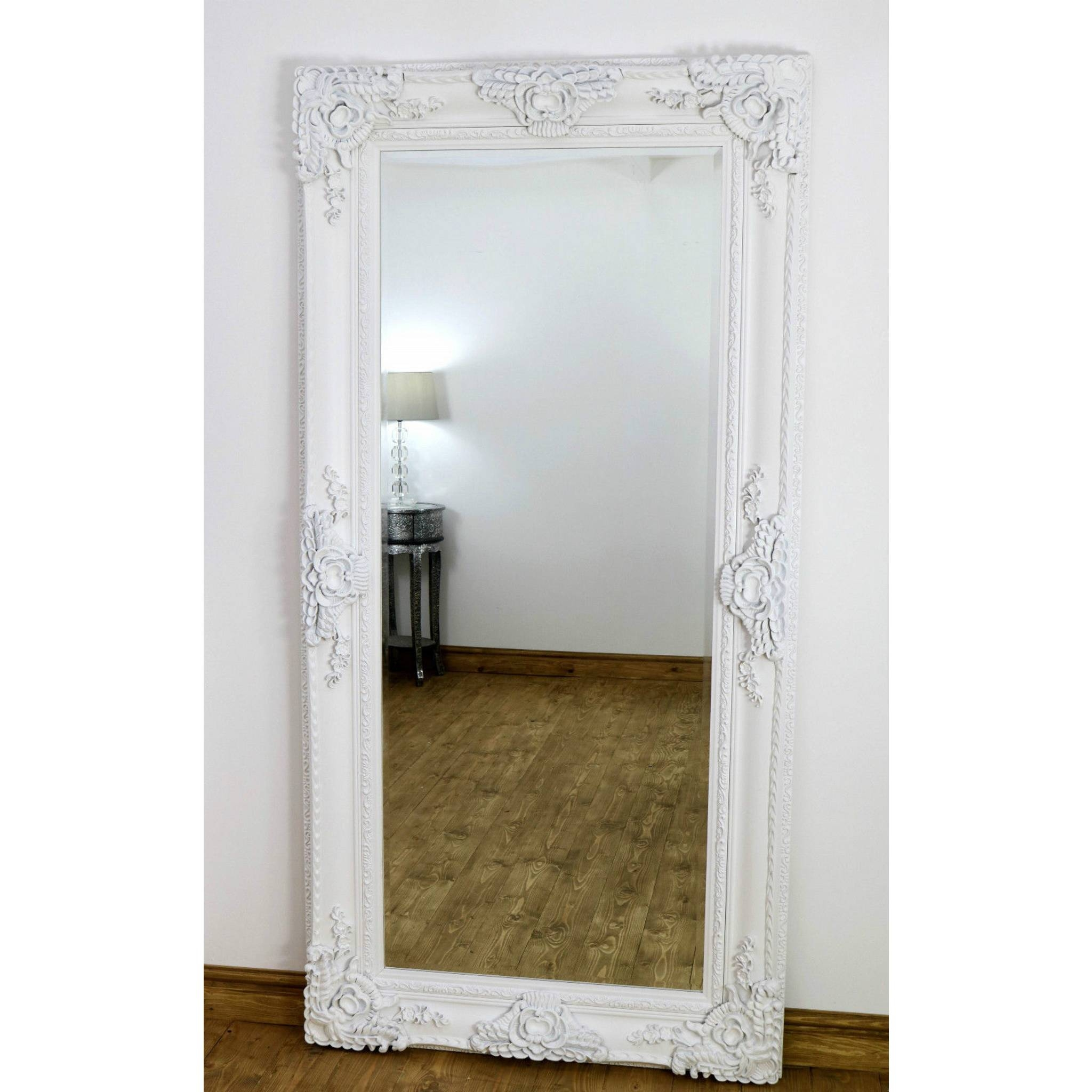 Flooring : White Floor Mirror Target Contemporary Mirrorswhite regarding Large White Ornate Mirrors (Image 7 of 25)