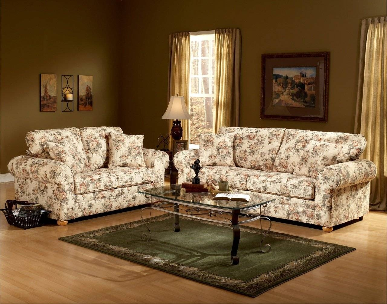 Floral Pattern Fabric Traditional Sofa & Loveseat Set intended for Traditional Fabric Sofas (Image 12 of 30)