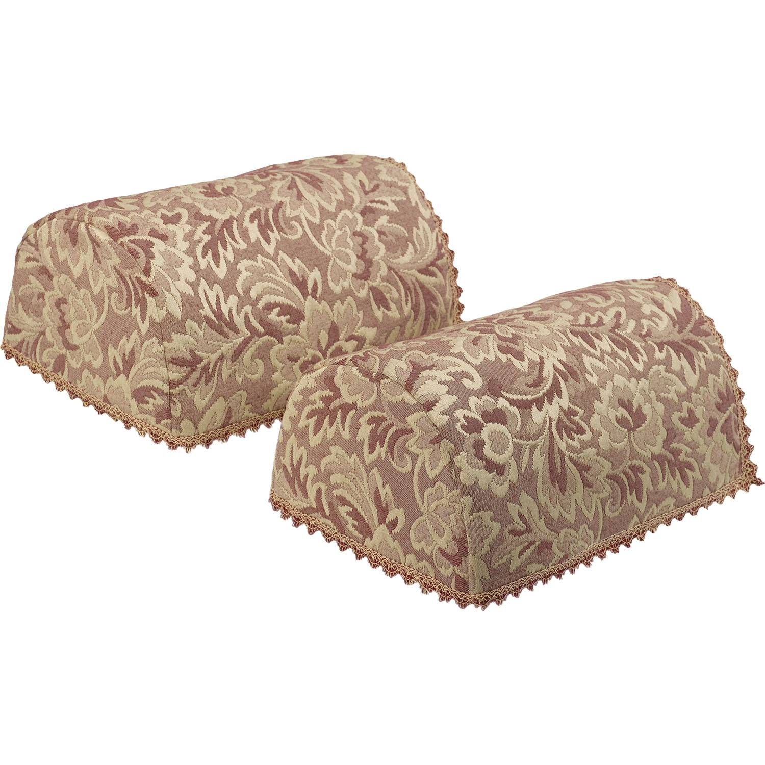 Floral Round Arm Caps Pair Traditional Decorative Napery Sofa pertaining to Arm Caps For Chairs (Image 19 of 30)