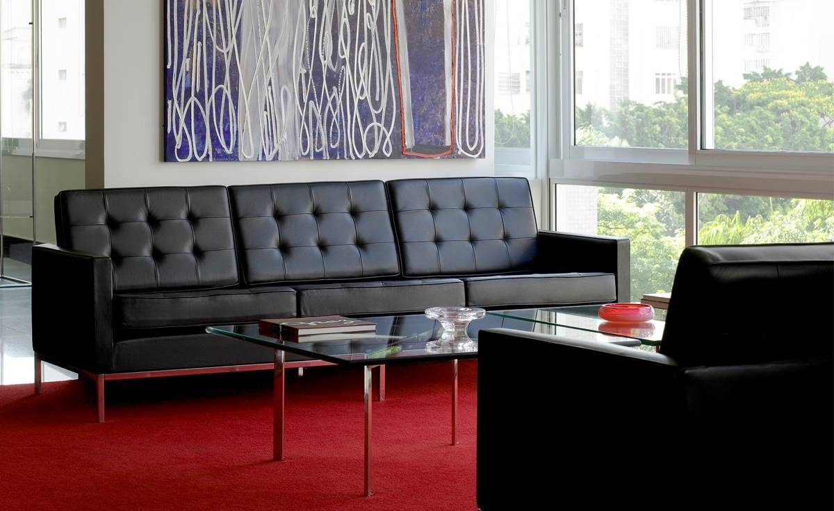 Florence Knoll 3 Seat Sofa - Hivemodern inside Florence Knoll Wood Legs Sofas (Image 6 of 25)