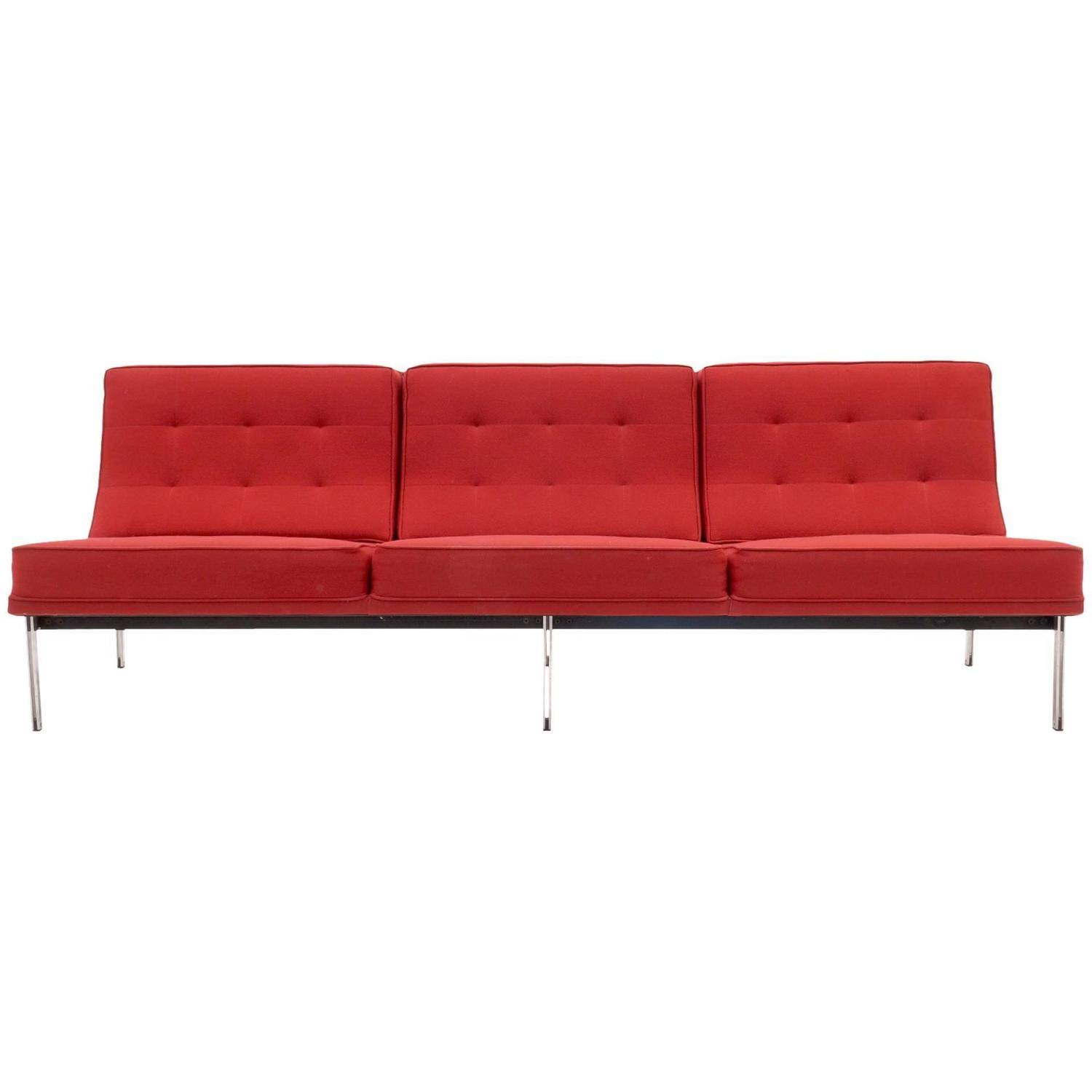 Florence Knoll Parallel Bar Three-Seat Armless Sofa Red Wool inside Florence Sofa Beds (Image 3 of 25)