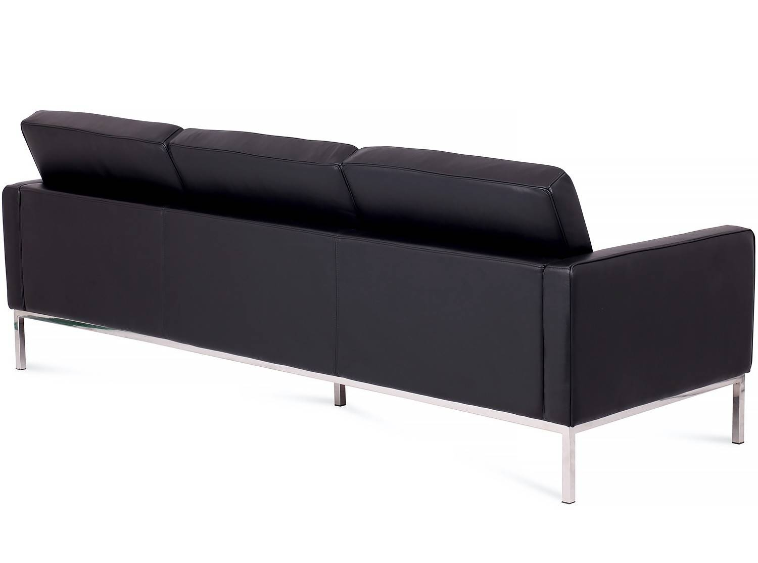 Florence Knoll Sofa 3 Seater Leather (Platinum Replica)-Waxed for Florence Knoll 3 Seater Sofas (Image 16 of 30)