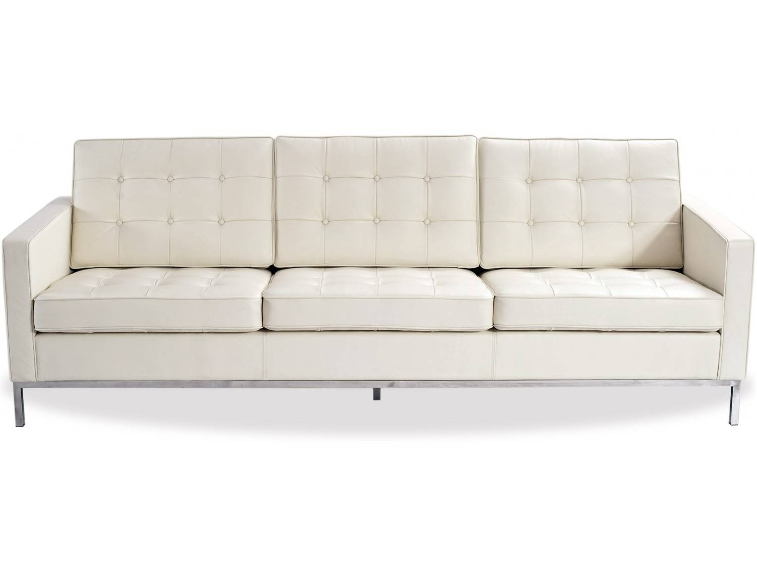 Florence Knoll Sofa 3 Seater Leather (Replica)-Aniline Leather-005 for Florence Knoll 3 Seater Sofas (Image 17 of 30)