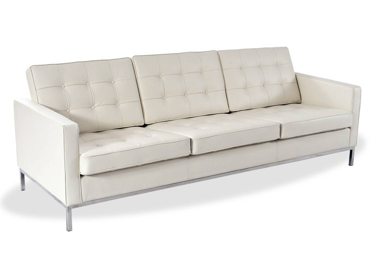 Florence Knoll Sofa 3 Seater Leather (Replica)-Aniline Leather-005 inside Florence Knoll 3 Seater Sofas (Image 18 of 30)