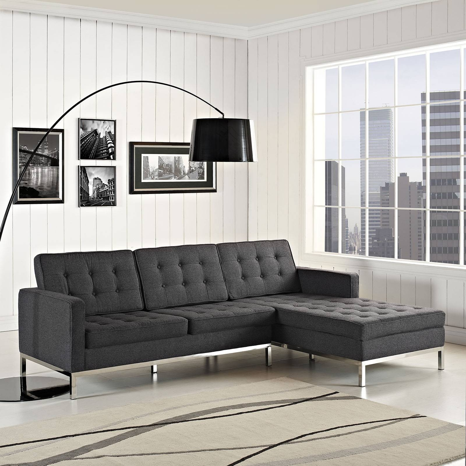 Florence Knoll Style Left Arm Sectional In Dark Gray Wool with regard to Florence Sofas and Loveseats (Image 9 of 25)