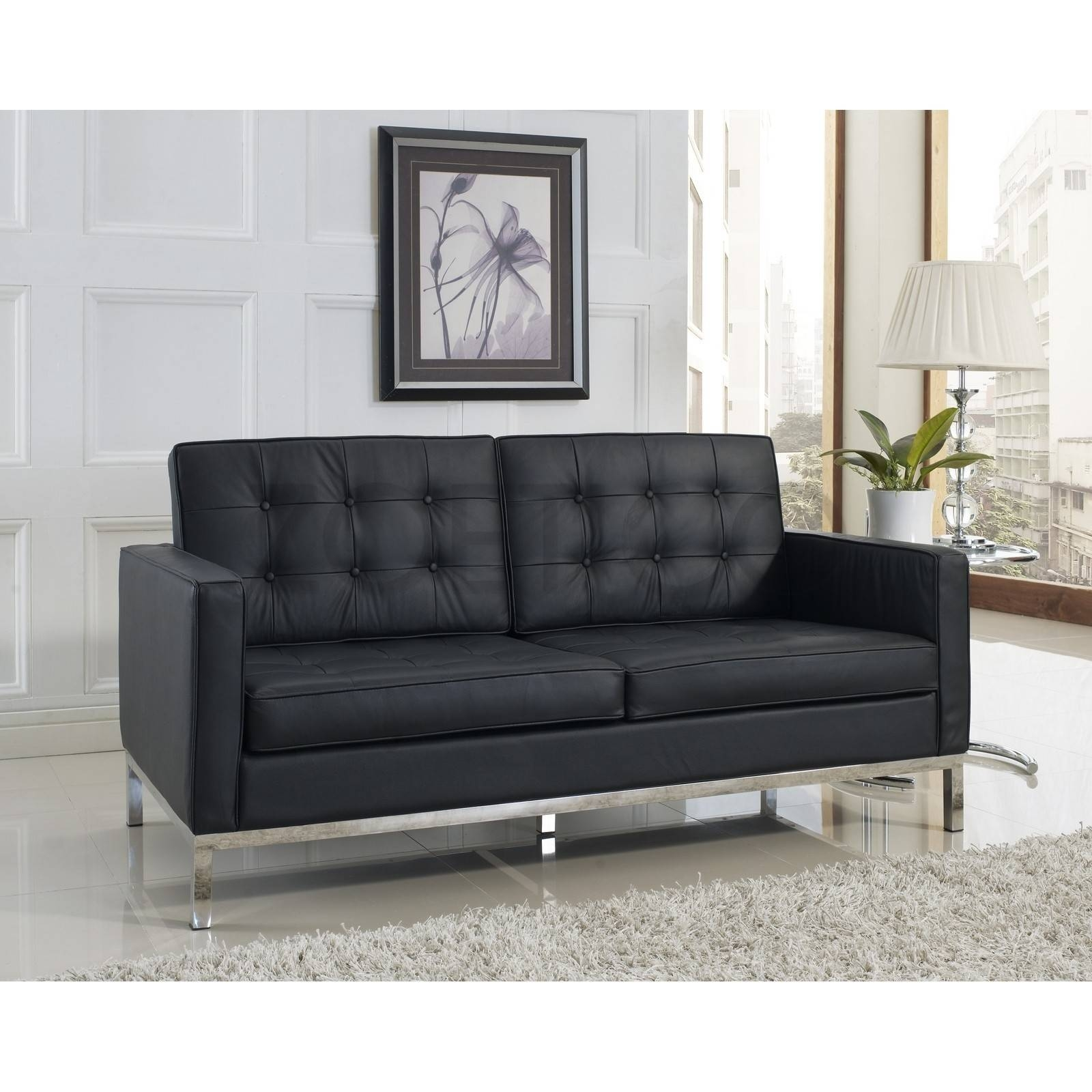 Florence Knoll Style Loveseat In Leather (Multiple Colors intended for Florence Knoll Leather Sofas (Image 12 of 25)