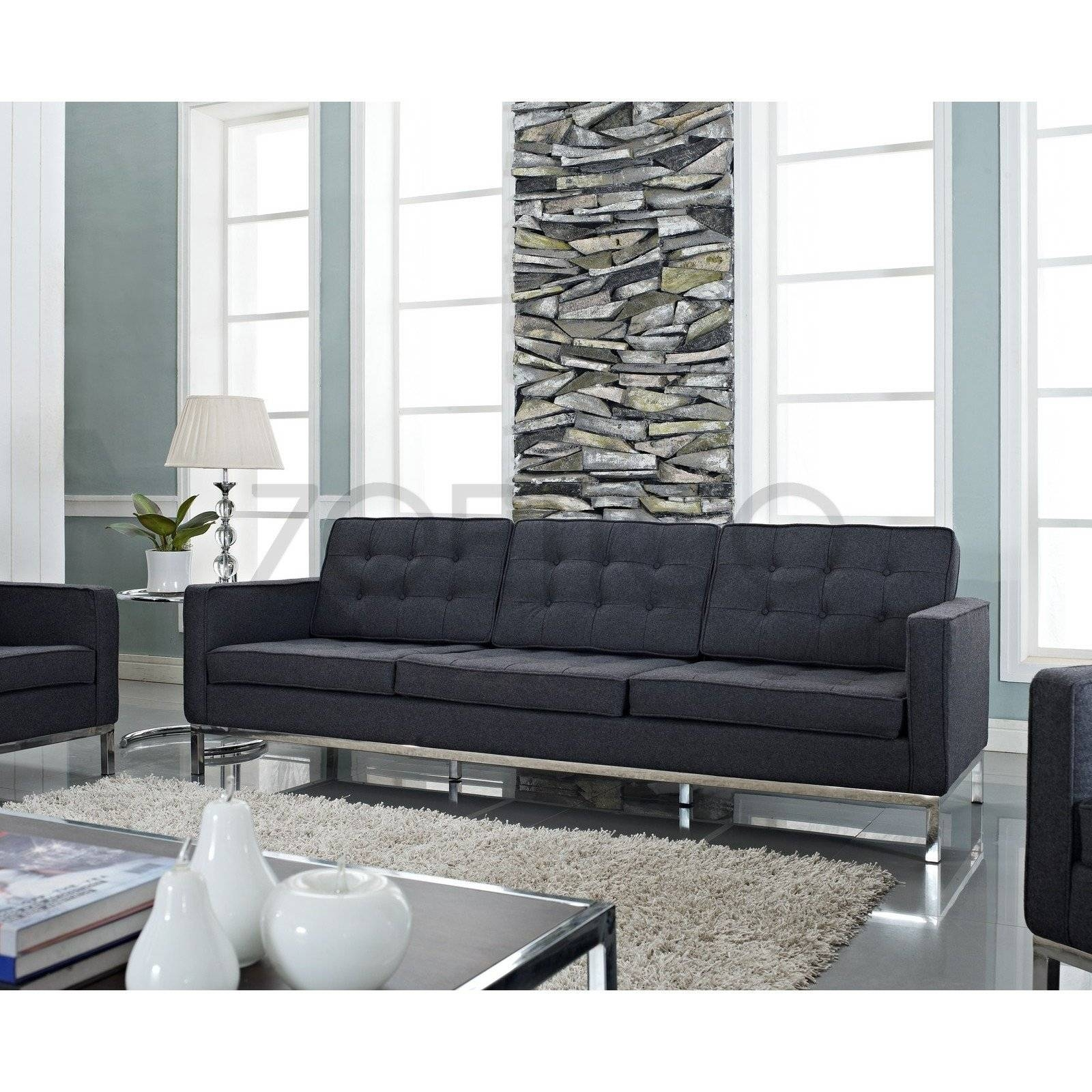 Florence Knoll Style Sofa In Fabric - (Multiple Colors/materials in Florence Grand Sofas (Image 11 of 25)