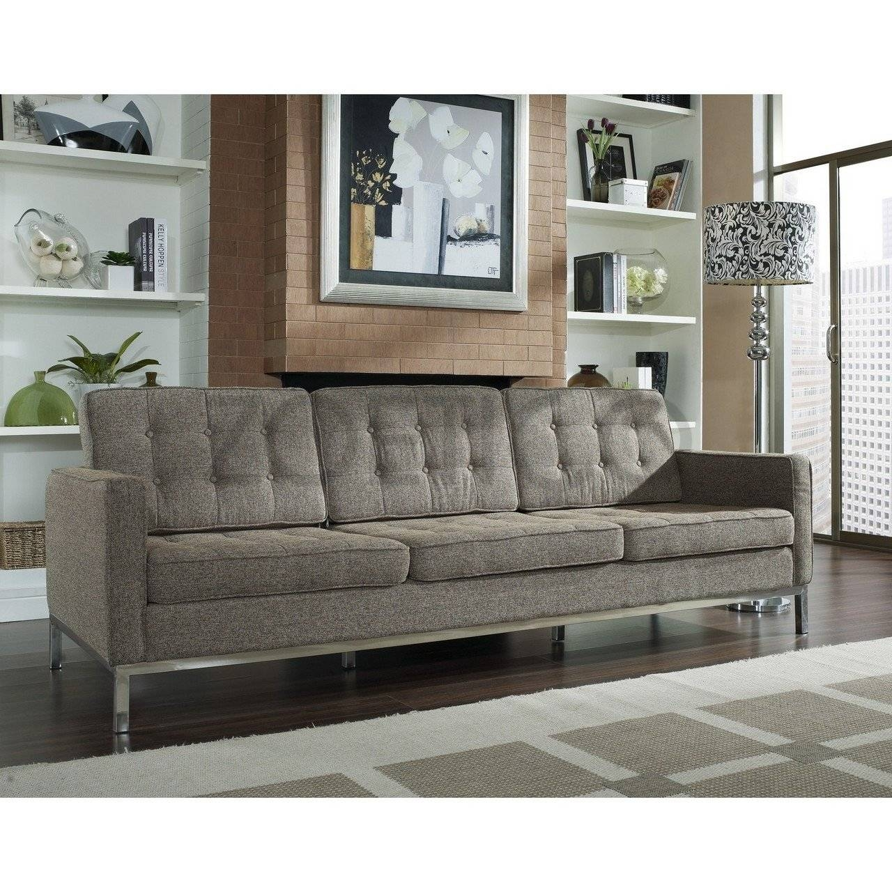 Florence Knoll Style Sofa In Fabric - (Multiple Colors/materials intended for Florence Grand Sofas (Image 13 of 25)
