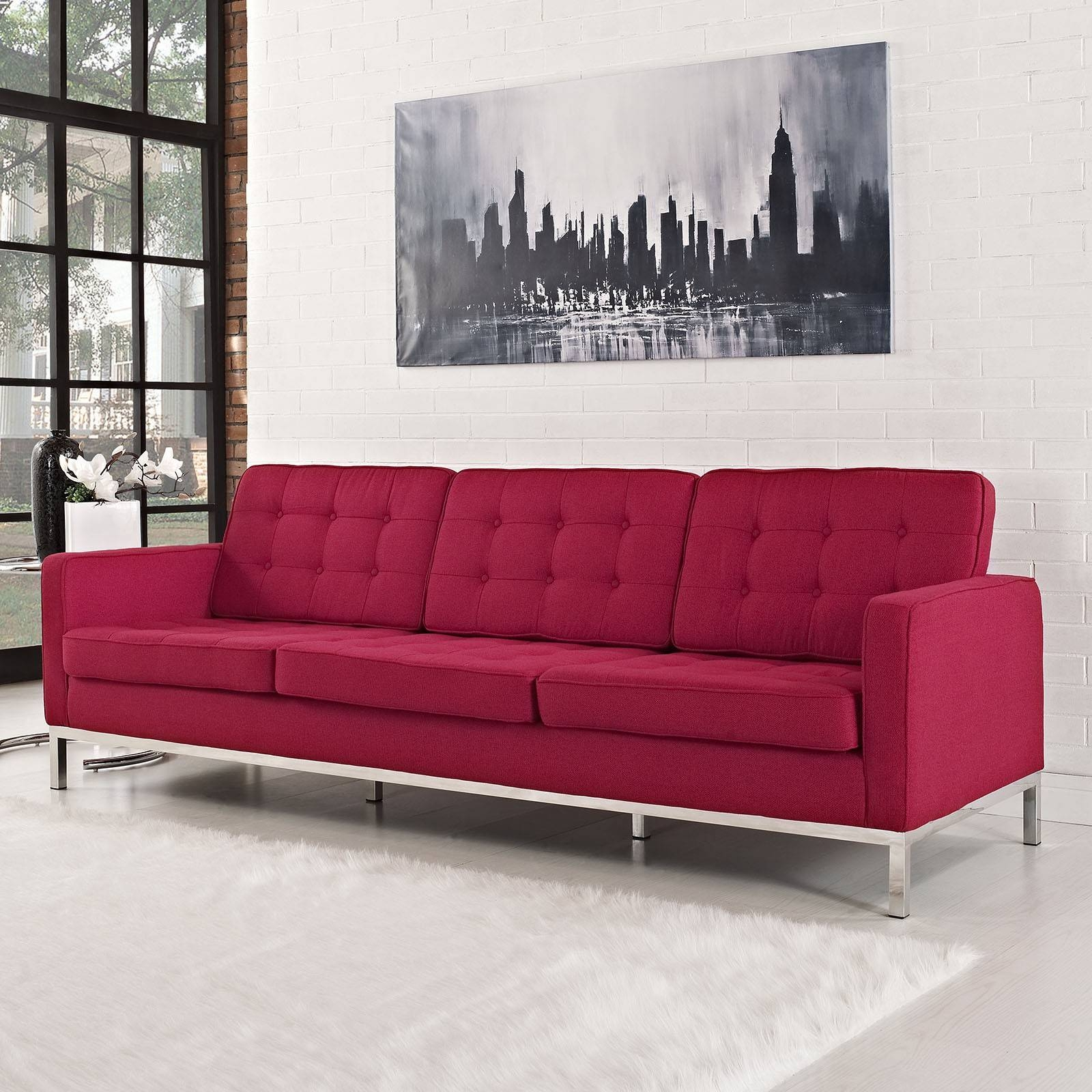 Florence Knoll Style Sofa In Fabric – (Multiple Colors/materials Regarding Tweed Fabric Sofas (View 10 of 30)