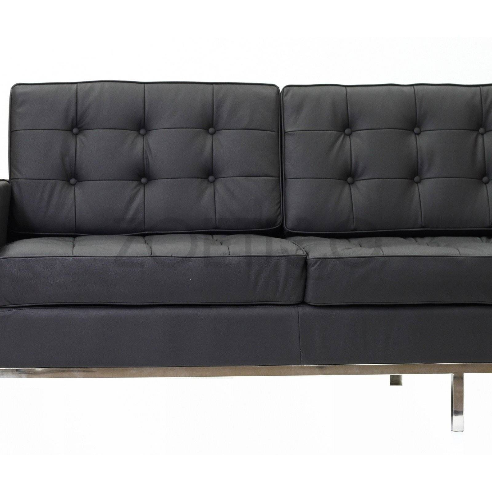 Florence Knoll Style Sofa In Leather (Multiple Colors/materials for Florence Grand Sofas (Image 16 of 25)