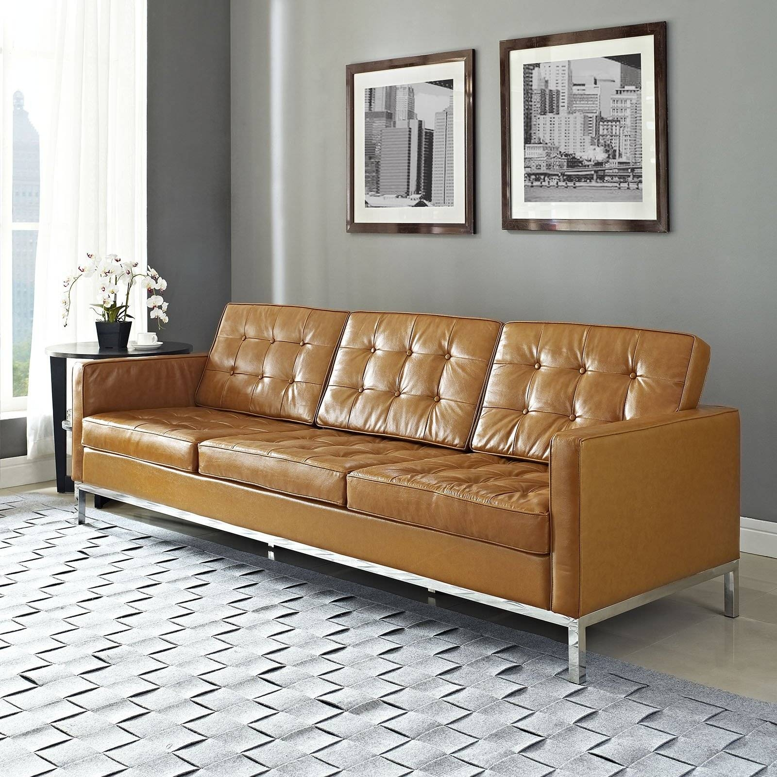 Florence Knoll Style Sofa In Leather (Multiple Colors/materials in Leather And Material Sofas (Image 6 of 30)