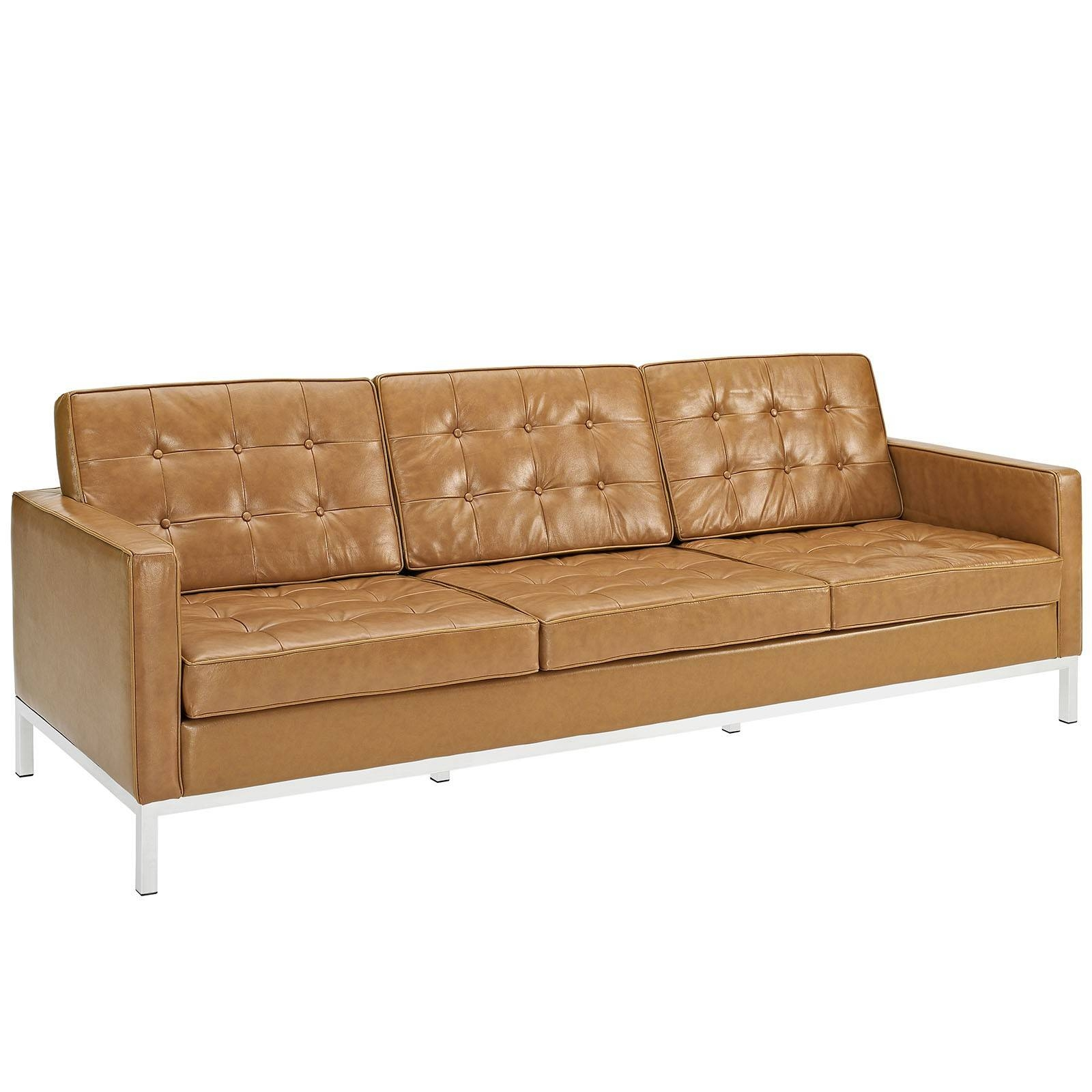 Florence Knoll Style Sofa In Leather (Multiple Colors/materials intended for Florence Leather Sofas (Image 17 of 30)