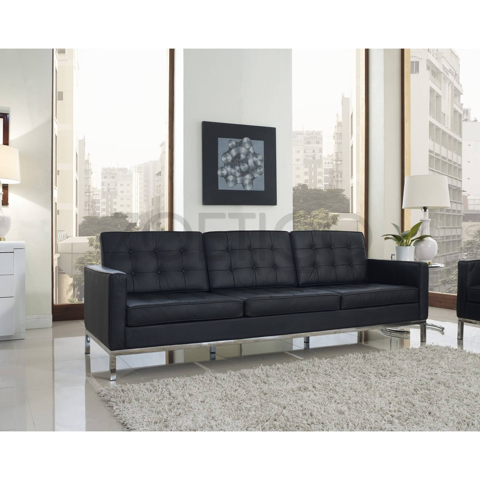 Florence Knoll Style Sofa In Leather (Multiple Colors/materials pertaining to Florence Sofas (Image 15 of 30)