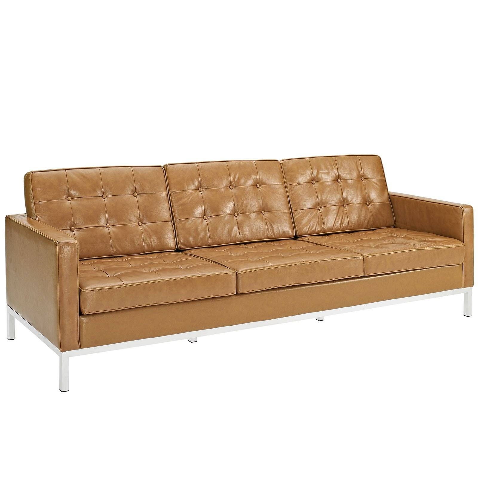 Florence Knoll Style Sofa In Leather (Multiple Colors/materials within Florence Knoll Leather Sofas (Image 14 of 25)