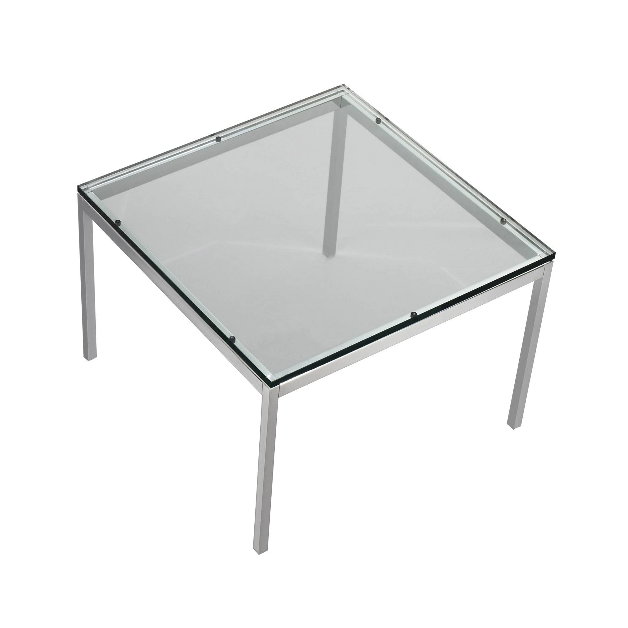 Florence Knoll Table - 60X60X43, Clear Glass Top, Chrome Base inside Chrome Coffee Table Bases (Image 19 of 30)