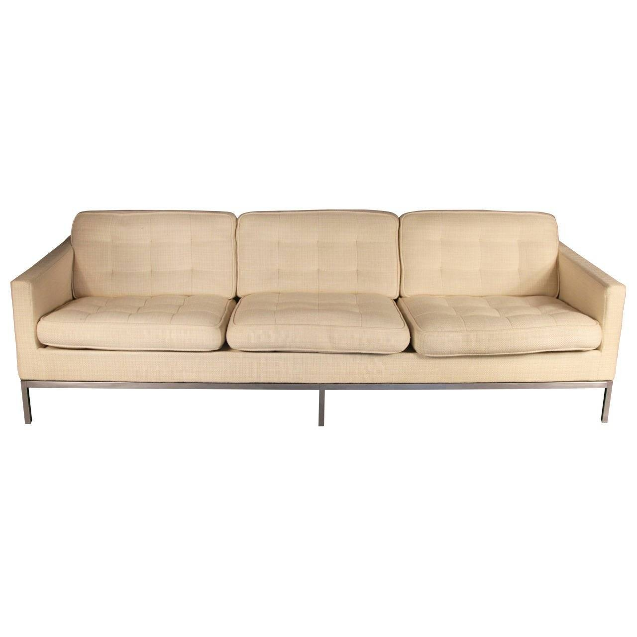 Florence Knoll Three-Seat Sofa On Chrome Frame For Sale At 1Stdibs pertaining to Florence Grand Sofas (Image 19 of 25)