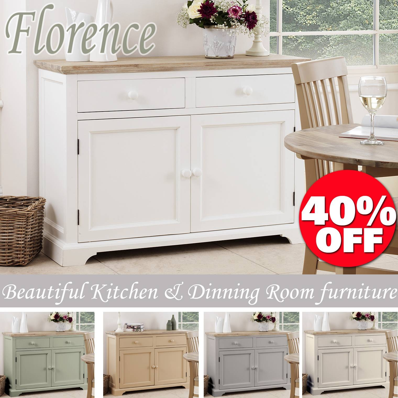 Florence Sideboard, Kitchen Cupboard With 2 Drawers And 2 Doors within Fully Assembled Sideboards (Image 14 of 30)