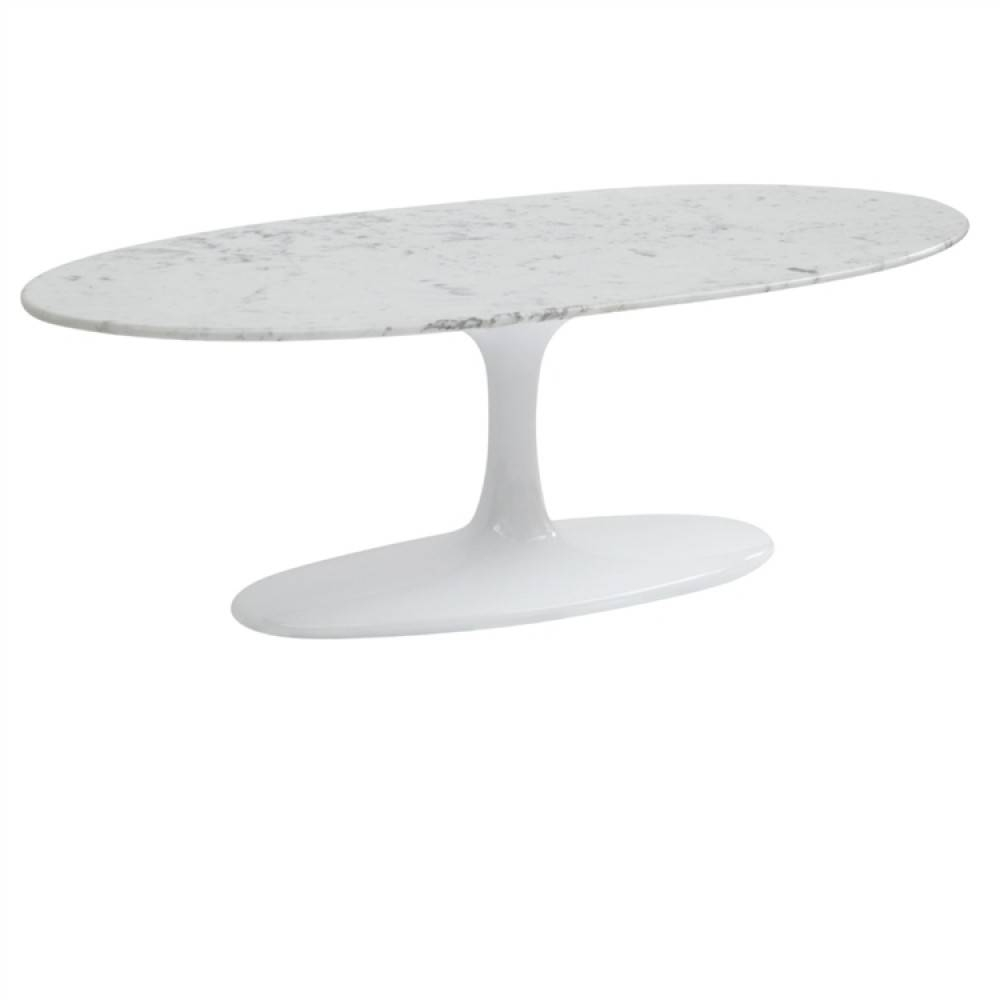 Flower Coffee Table Oval Marble Top | White, Fine Mod Imports within Oval White Coffee Tables (Image 15 of 30)