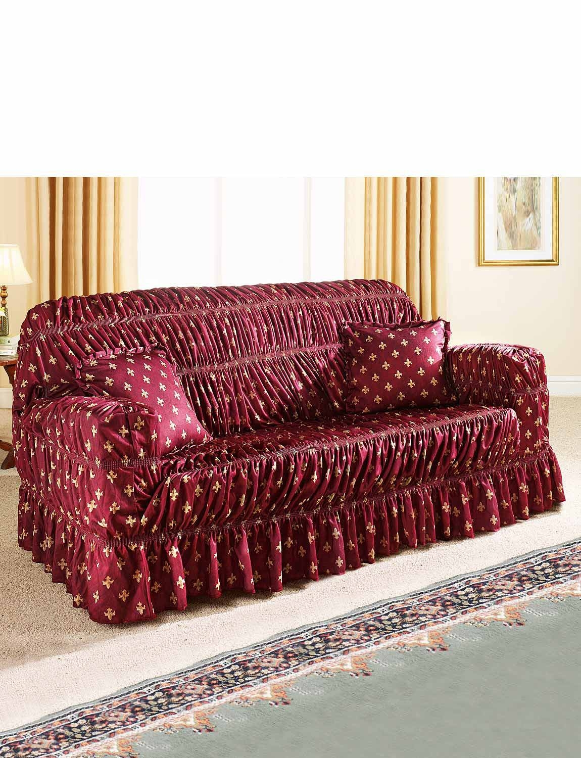 Fluer De Lys Design Strecth To Fit Furniture Cover – Settee Cover Regarding Sofa Settee Covers (View 11 of 30)