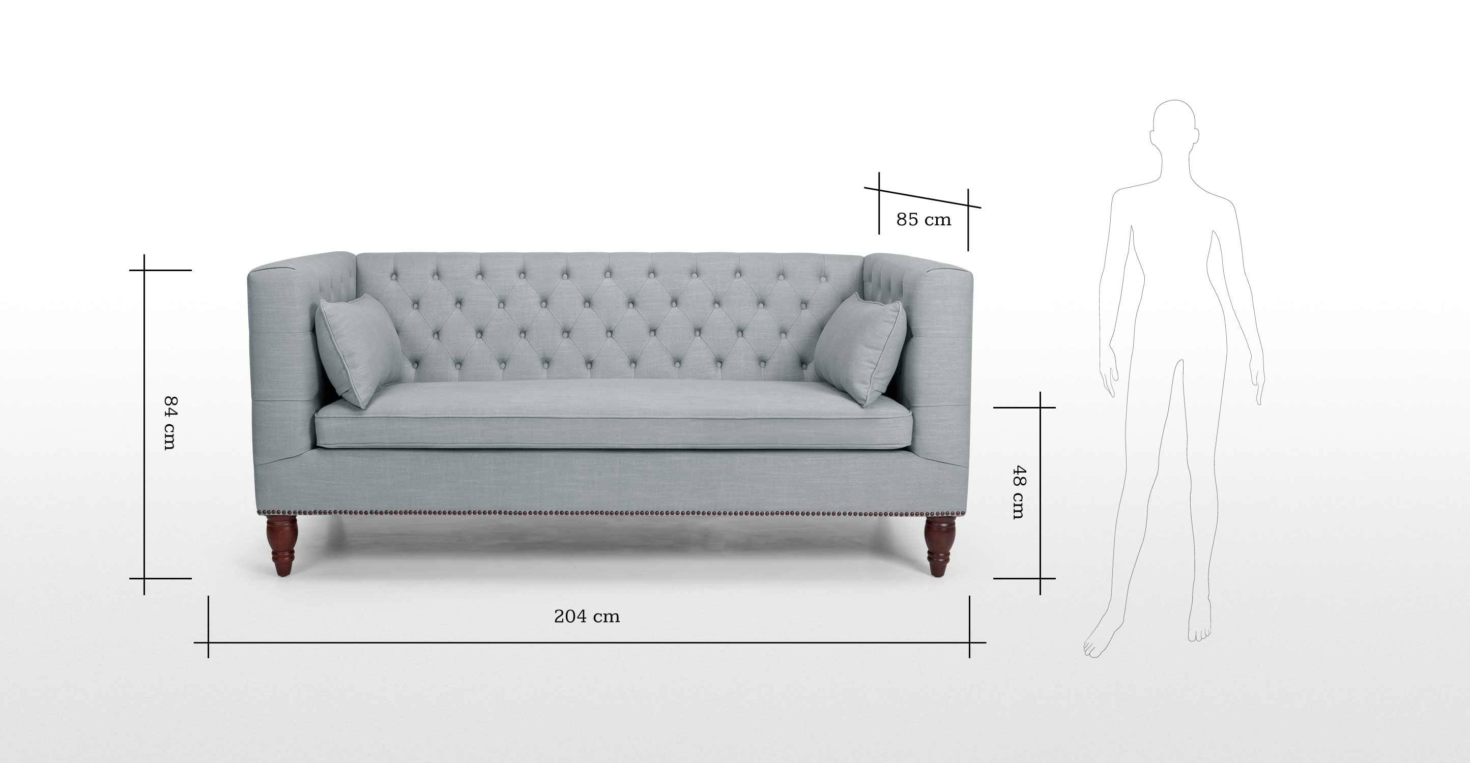 Flynn 3 Seater Sofa In Persian Grey | Made intended for Three Seater Sofas (Image 18 of 30)