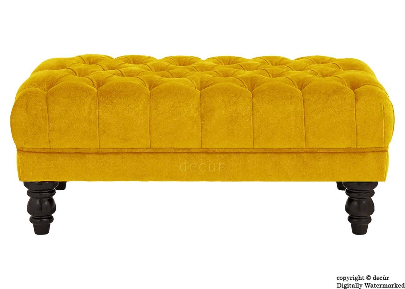Footstools & Ottomans - Living Room : Yellow/gold And Velvet for Velvet Footstool (Image 21 of 30)
