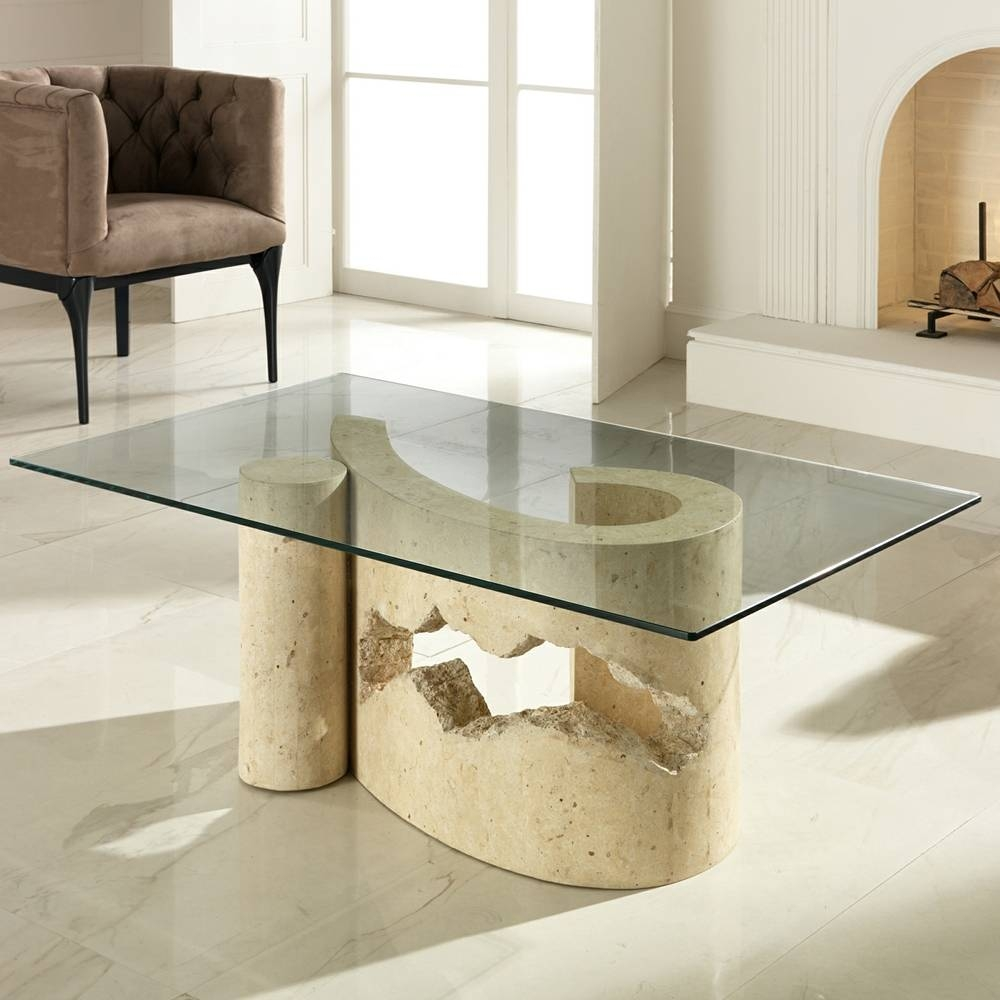 Fossil Stone And Glass Coffee Table Madison regarding Madison Coffee Tables (Image 9 of 30)