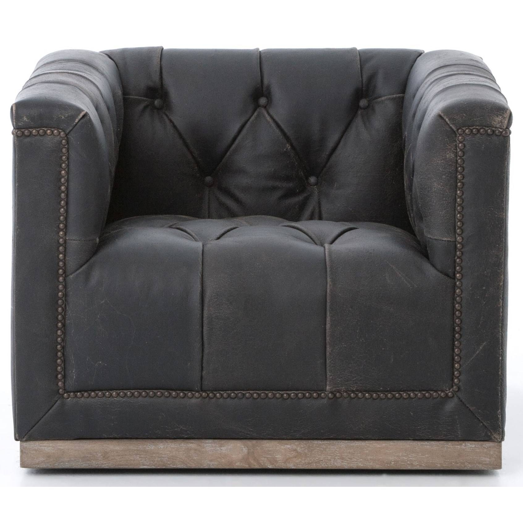 Four Hands Kensington Maxx Swivel Chair With Black Upholstery with Sofa With Swivel Chair (Image 18 of 30)