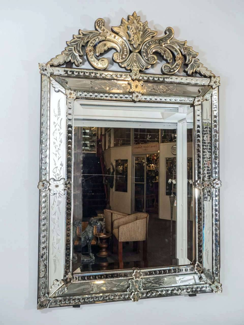 Four Seasons Wall Venetian Mirror Engraved With Murano Glassextra With Regard To Long Venetian Mirrors (View 10 of 25)
