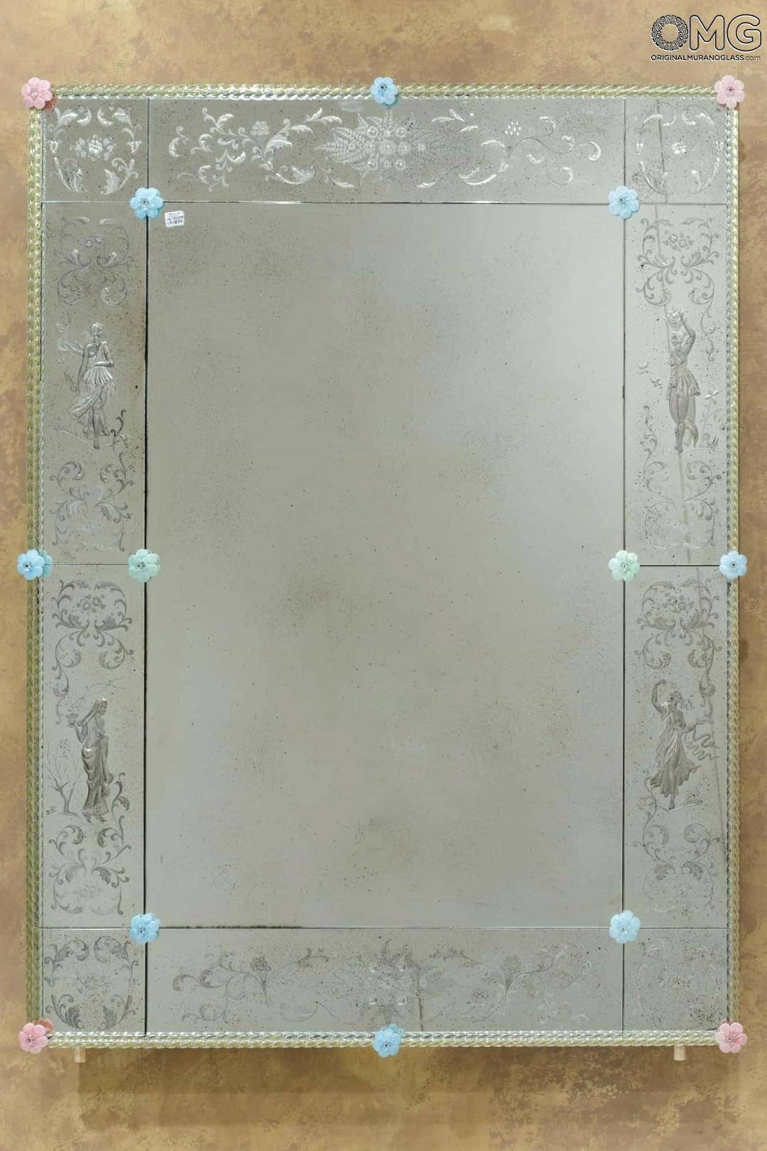 Four Seasons Wall Venetian Mirror Engraved With Murano Glassextra with Venetian Bevelled Mirrors (Image 4 of 25)