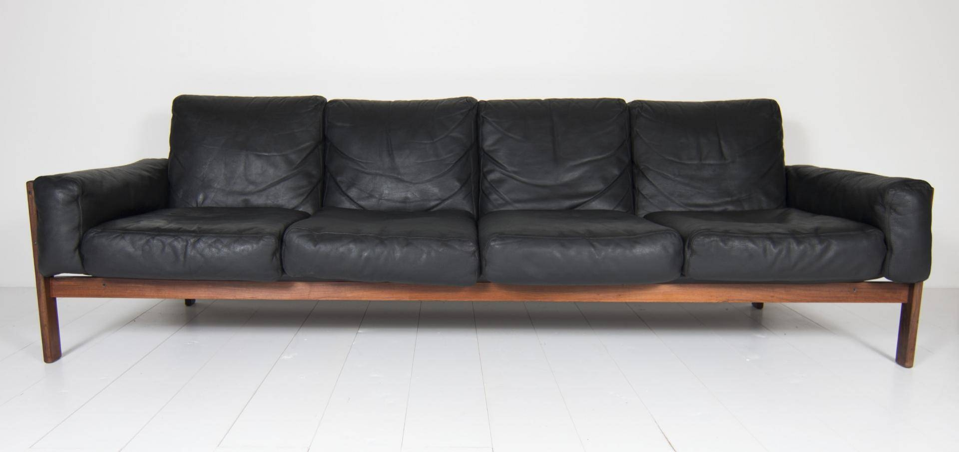 Four Seater Black Leather Sofasven Ivar Dysthe For Dokka For With 4 Seat Leather Sofas (View 14 of 30)