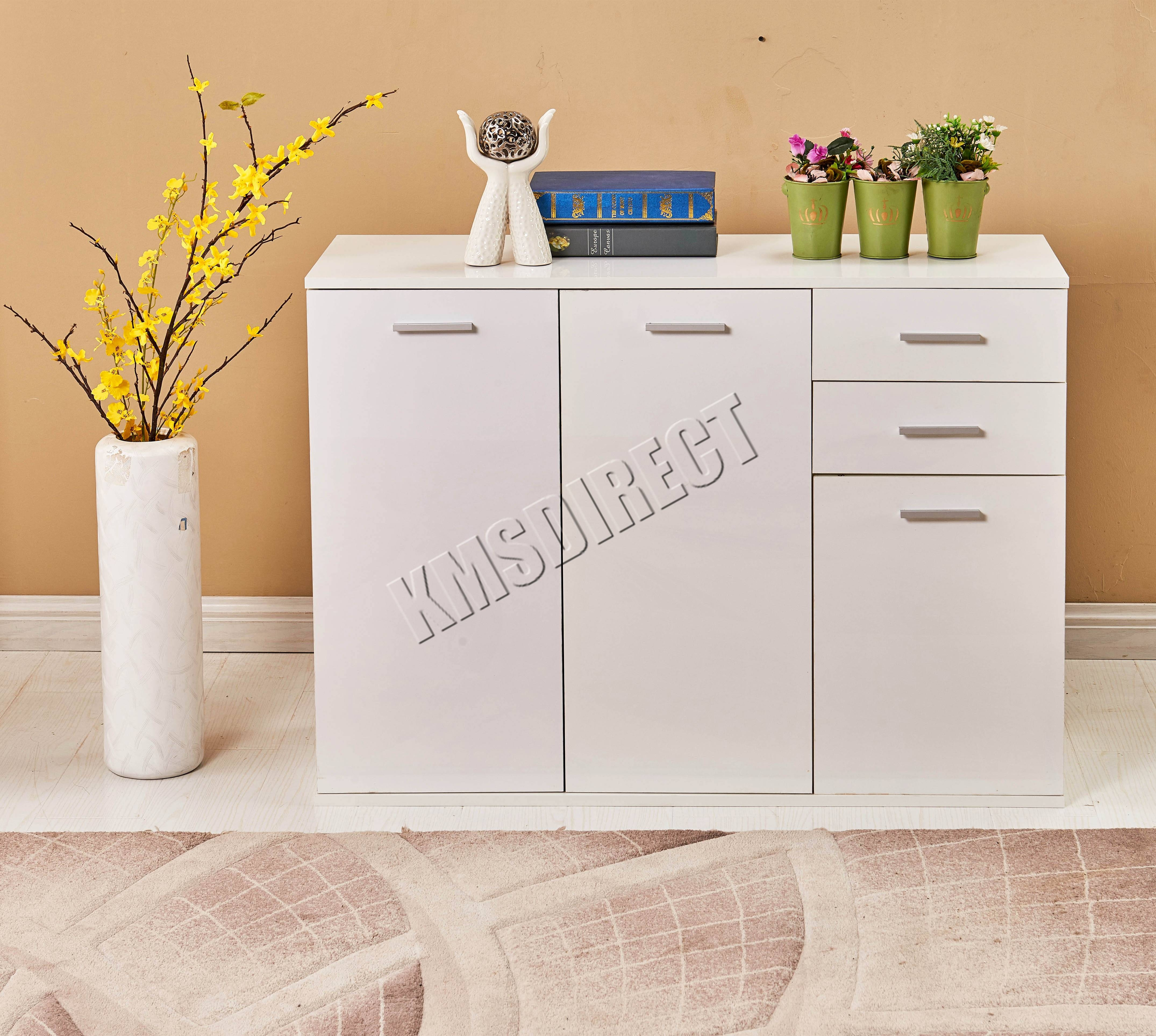 Foxhunter White High Gloss Cabinet Unit Sideboard 2 Drawers 2/3 for White High Gloss Sideboards (Image 11 of 30)