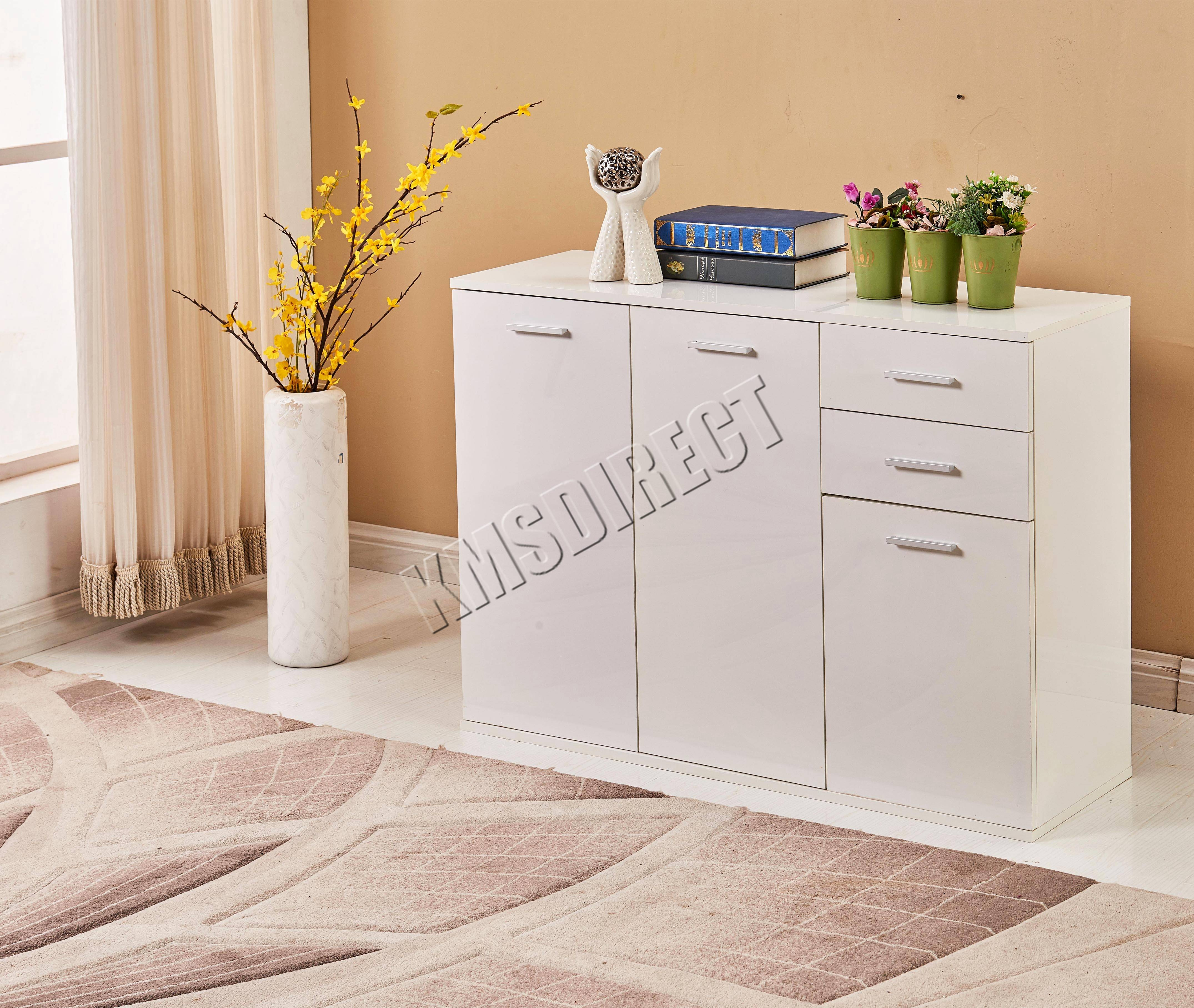 Foxhunter White High Gloss Cabinet Unit Sideboard 2 Drawers 2/3 inside High Gloss Sideboards (Image 13 of 30)