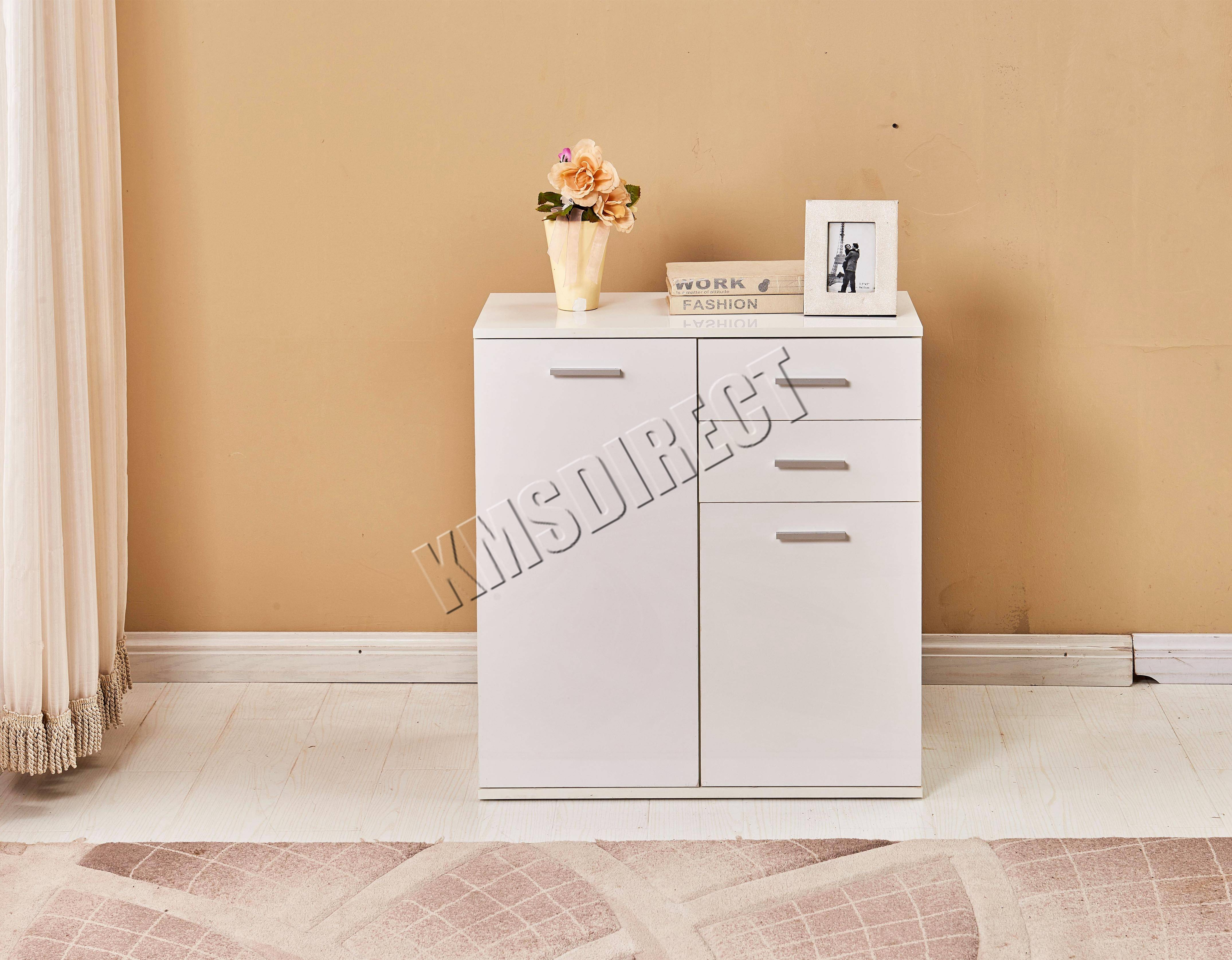 Foxhunter White High Gloss Cabinet Unit Sideboard 2 Drawers 2/3 throughout High Gloss Sideboards (Image 14 of 30)