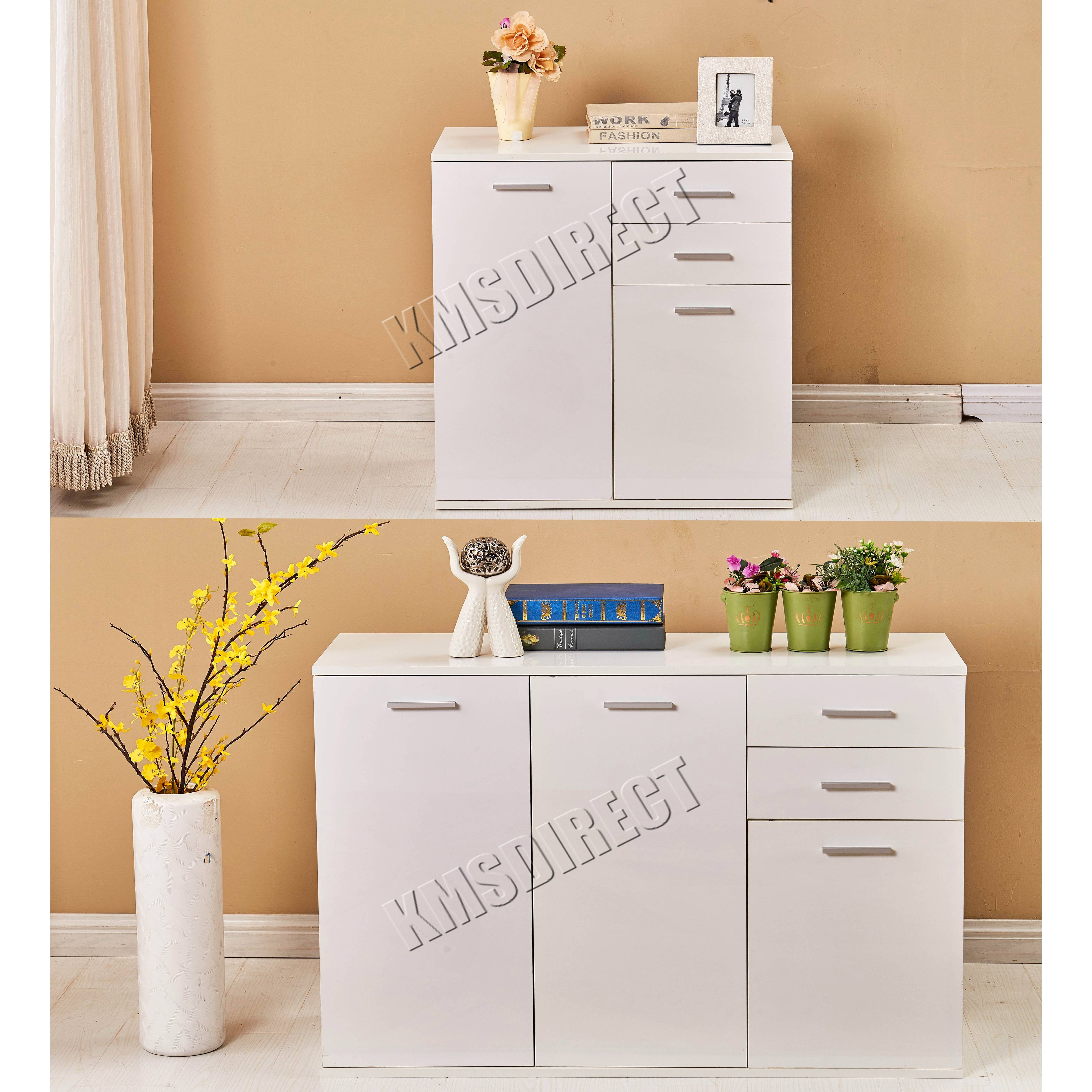 Foxhunter White High Gloss Cabinet Unit Sideboard 2 Drawers 2/3 within High Gloss Sideboards (Image 15 of 30)