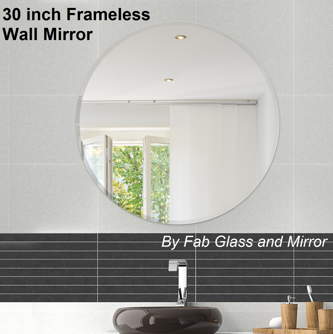 Frameless Round Wall Mirrors, Bathroom Mirror, Discounted Price Mirror in Round Bevelled Mirrors (Image 7 of 25)