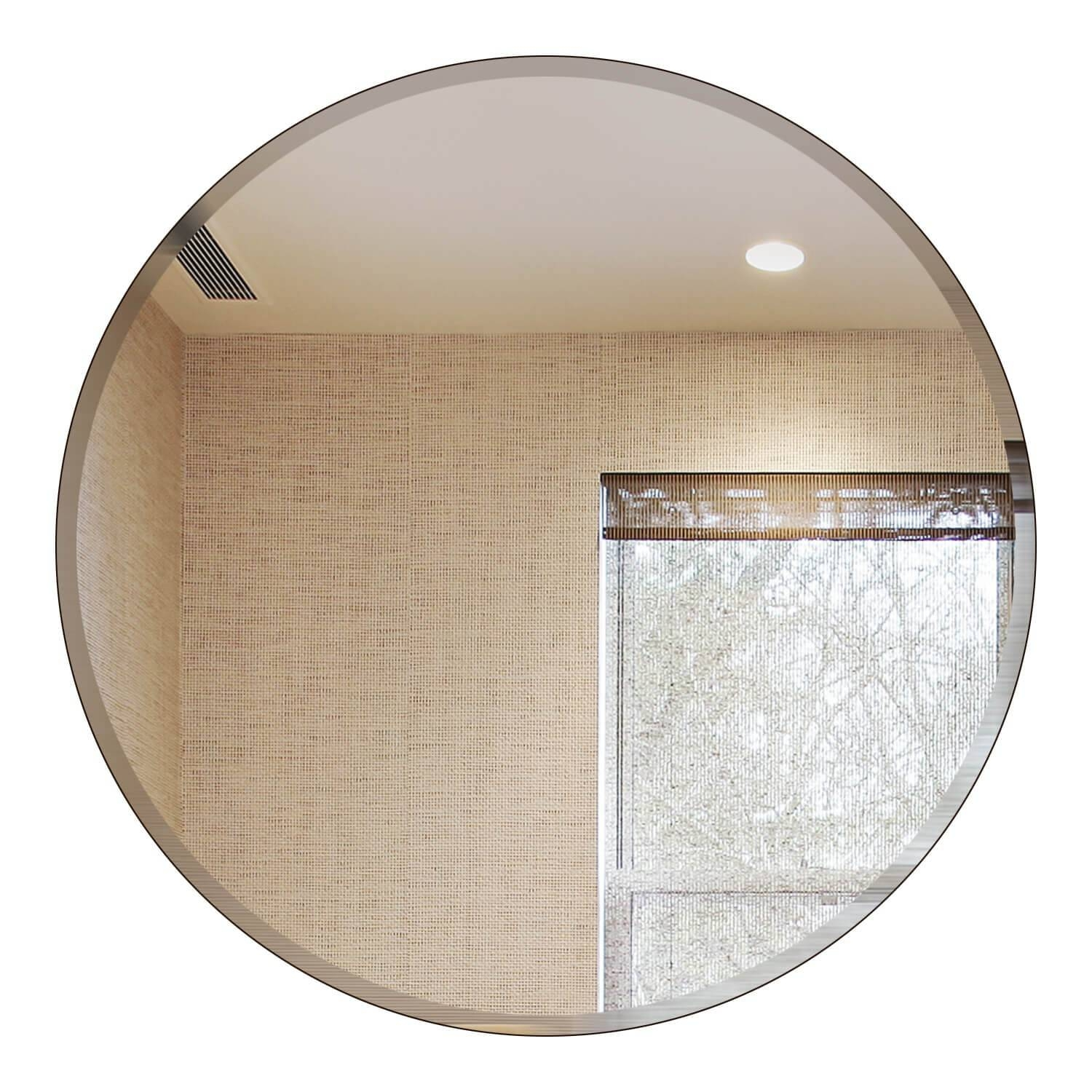 Frameless Round Wall Mirrors, Bathroom Mirror, Discounted Price Mirror intended for Round Bevelled Mirrors (Image 8 of 25)