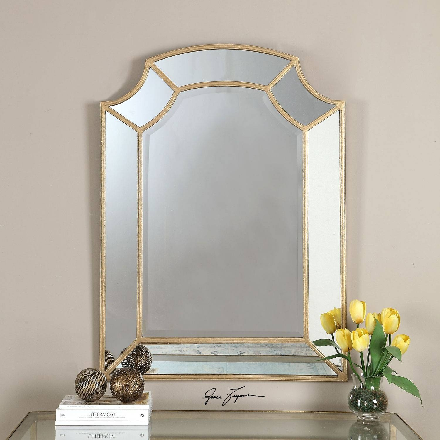 Francoli Gold Arch Mirror Uttermost Wall Mirror Mirrors Home Decor throughout Gold Arch Mirrors (Image 7 of 25)
