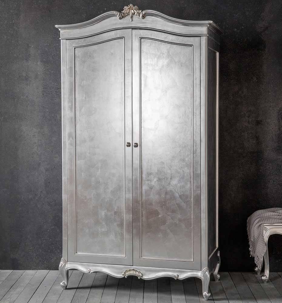 Frank Hudson Chic Silver 2 Door Wardrobe - Wardrobes - Furniture inside Silver Wardrobes (Image 8 of 15)