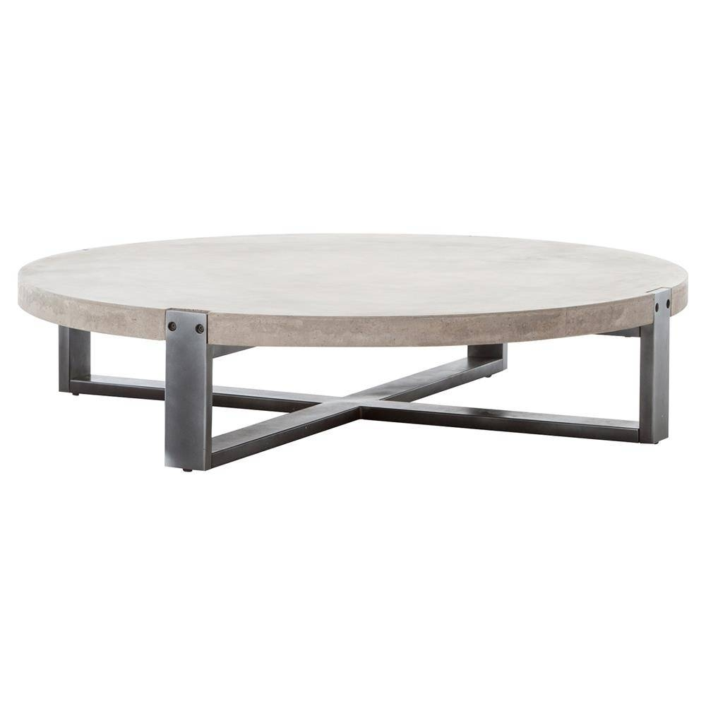 Frantz Loft Modern Grey Concrete Low Round Coffee Table - 55D with Low Rectangular Coffee Tables (Image 12 of 30)