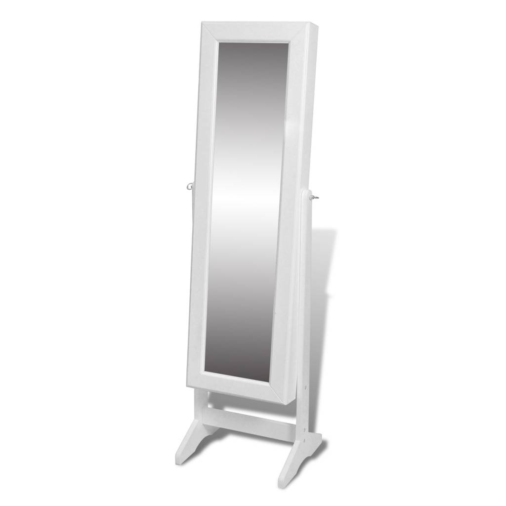 Free Standing Mirror Jewellery Cabinet Wardrobe White | Mf Cabinets inside Free Standing Mirrors With Drawer (Image 16 of 25)