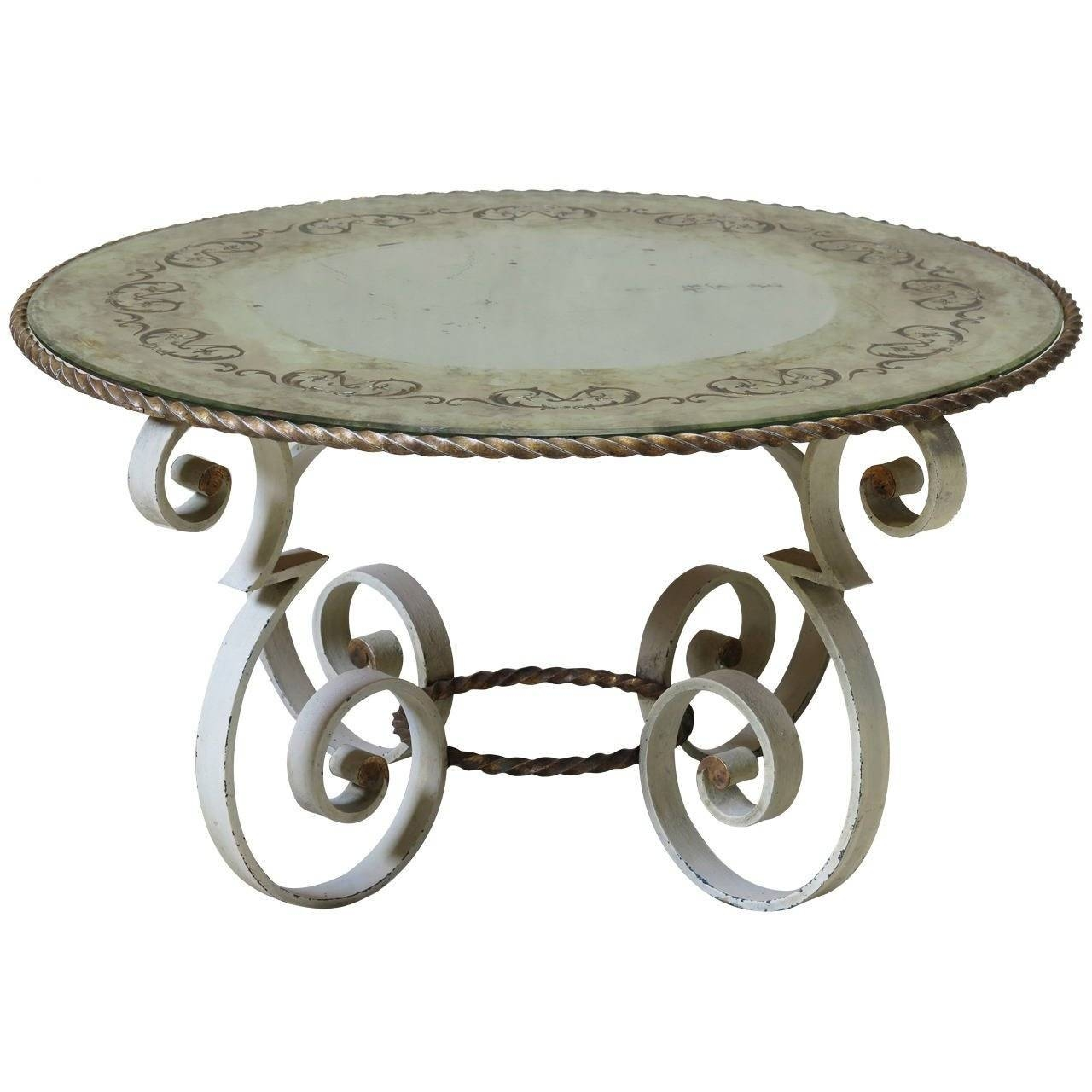 French 1940S Wrought Iron Coffee Table With Grey Marble For Sale with regard to Wrought Iron Coffee Tables (Image 4 of 30)
