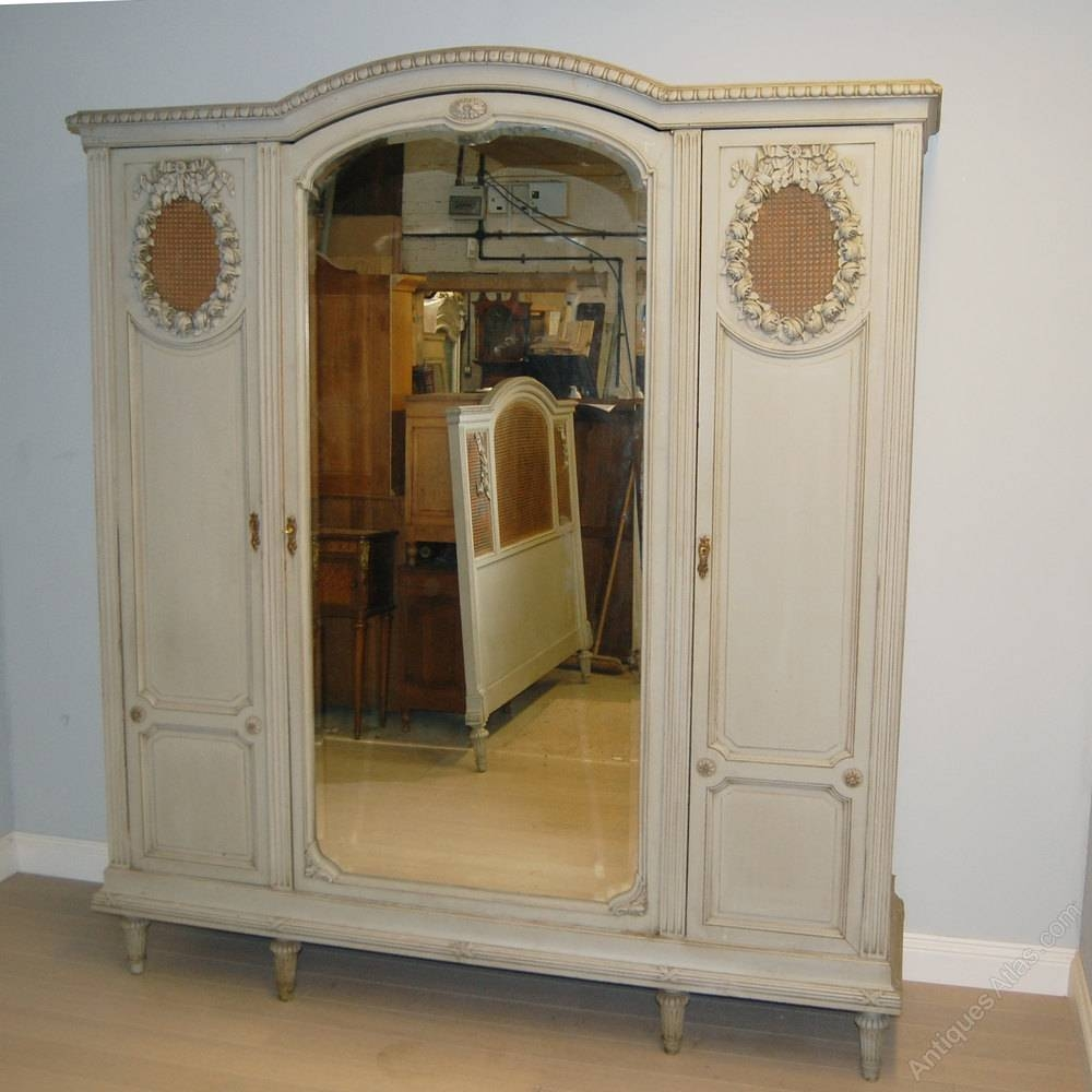 French 3 Door Painted Armoire / Wardrobe – Antiques Atlas Pertaining To 3 Door French Wardrobes (View 4 of 15)