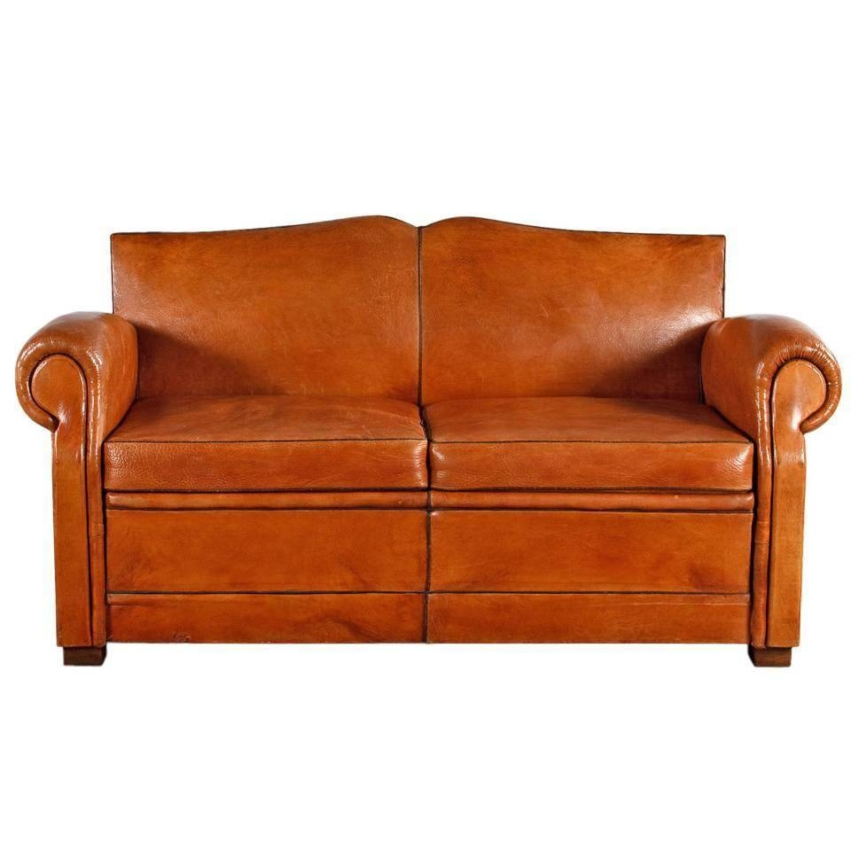 French Art Deco Leather Club Sofa, 1930S At 1Stdibs within 1930S Couch (Image 16 of 30)