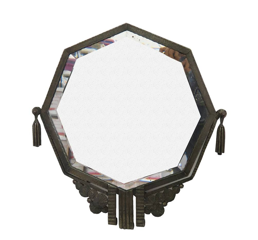 French Art Deco Octagonal Wrought Iron Mirror Style Brandt | Modernism inside Art Deco Style Mirrors (Image 17 of 25)
