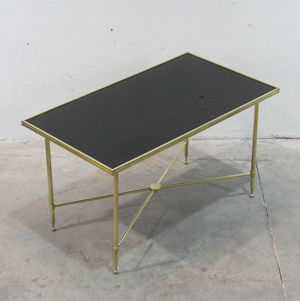 French Brass And Black Glass Coffee Table, 1940S For Sale At Pamono pertaining to Black Glass Coffee Tables (Image 17 of 30)