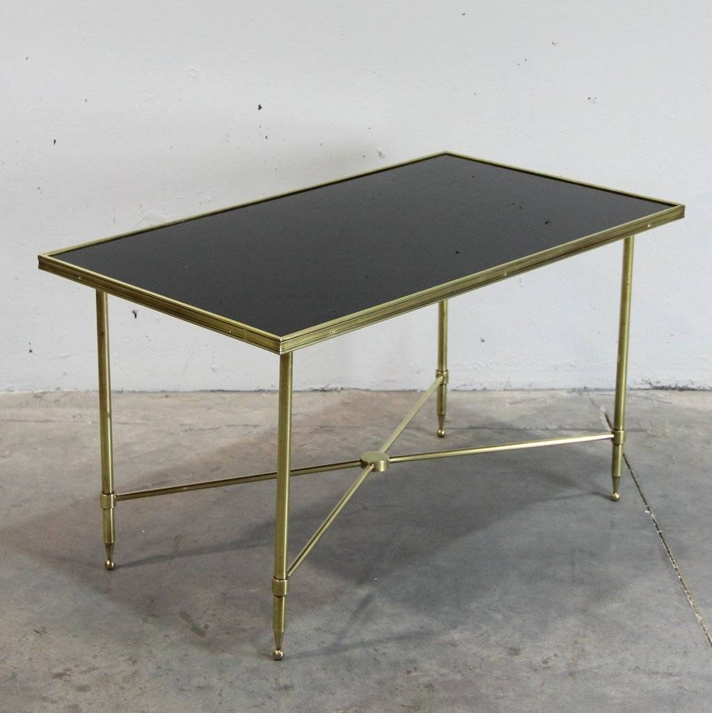 French Brass And Black Glass Coffee Table, 1940S For Sale At Pamono throughout Black Glass Coffee Tables (Image 18 of 30)